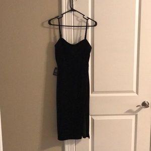 Velvet Black dress with a Slit